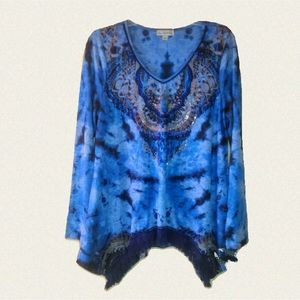 🔥Live and let live Blue Tie Dye Rhinestone Blouse